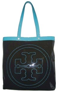 Tory Burch Patent Patent Leather Perforated Logo Monogram Reva T-contrast Contrast Large Tote in Blue / Brown