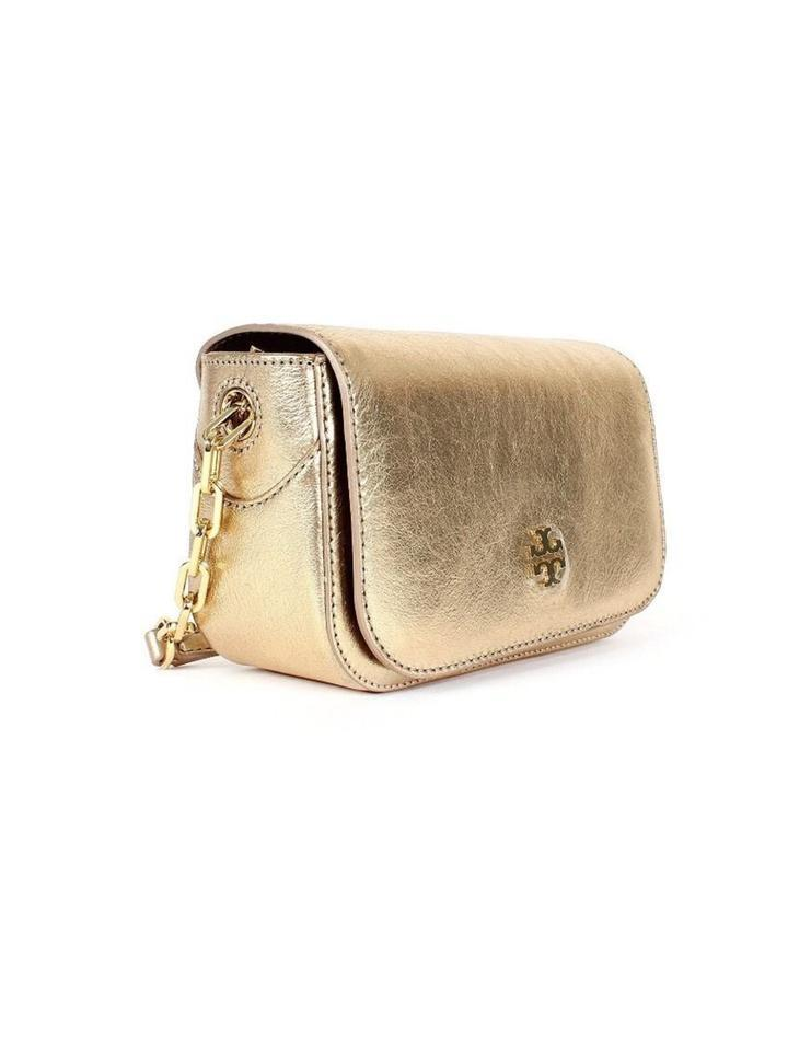 43840ae21e5b ... real tory burch pay only w code caitlin mini shoulder metallic gold  leather cross body bag