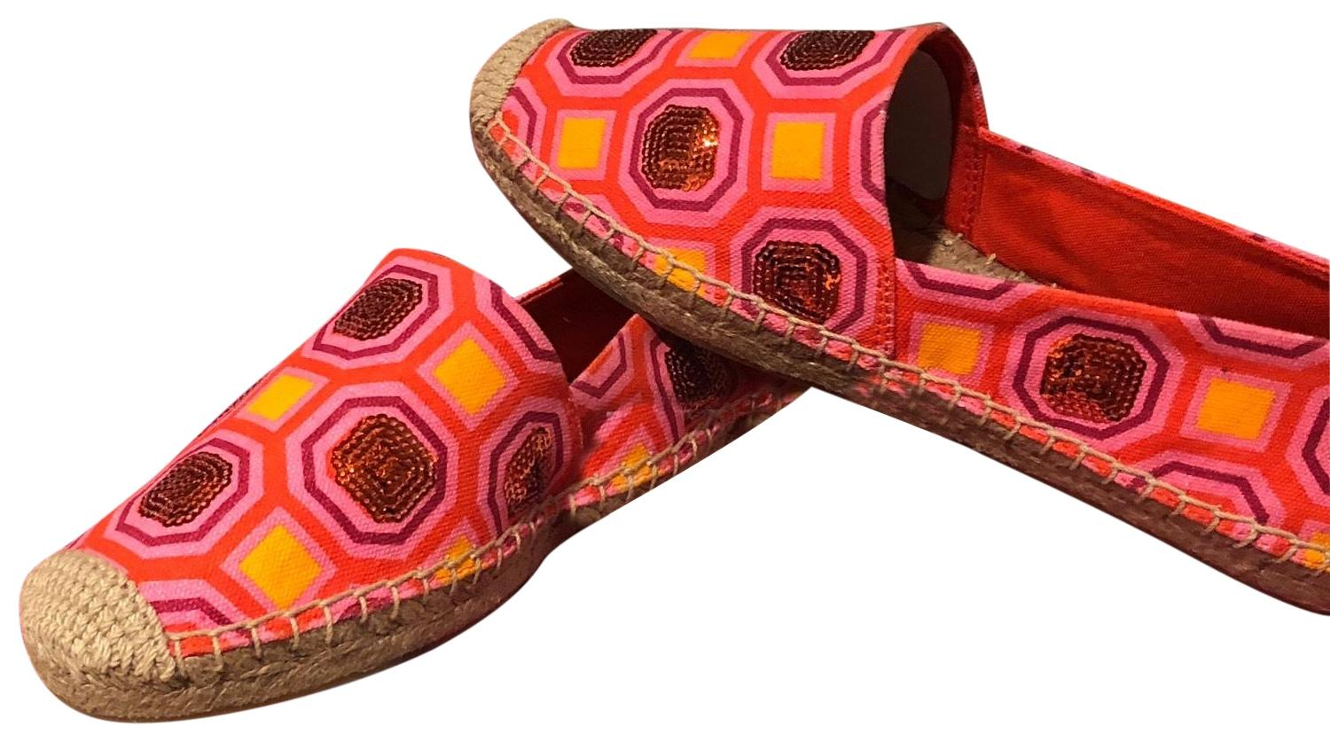 add086545ce6c Tory Burch Pink Orange Embellished Espadrille Pink Orange Flats Flats Flats  Size US 7.5 Regular (M
