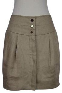 Tory Burch Womens Solid Above Knee Linen Blend Pleated Skirt Beige