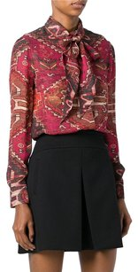 Tory Burch Pussy Bow Ethnic Print Kera Top Pink / Brown