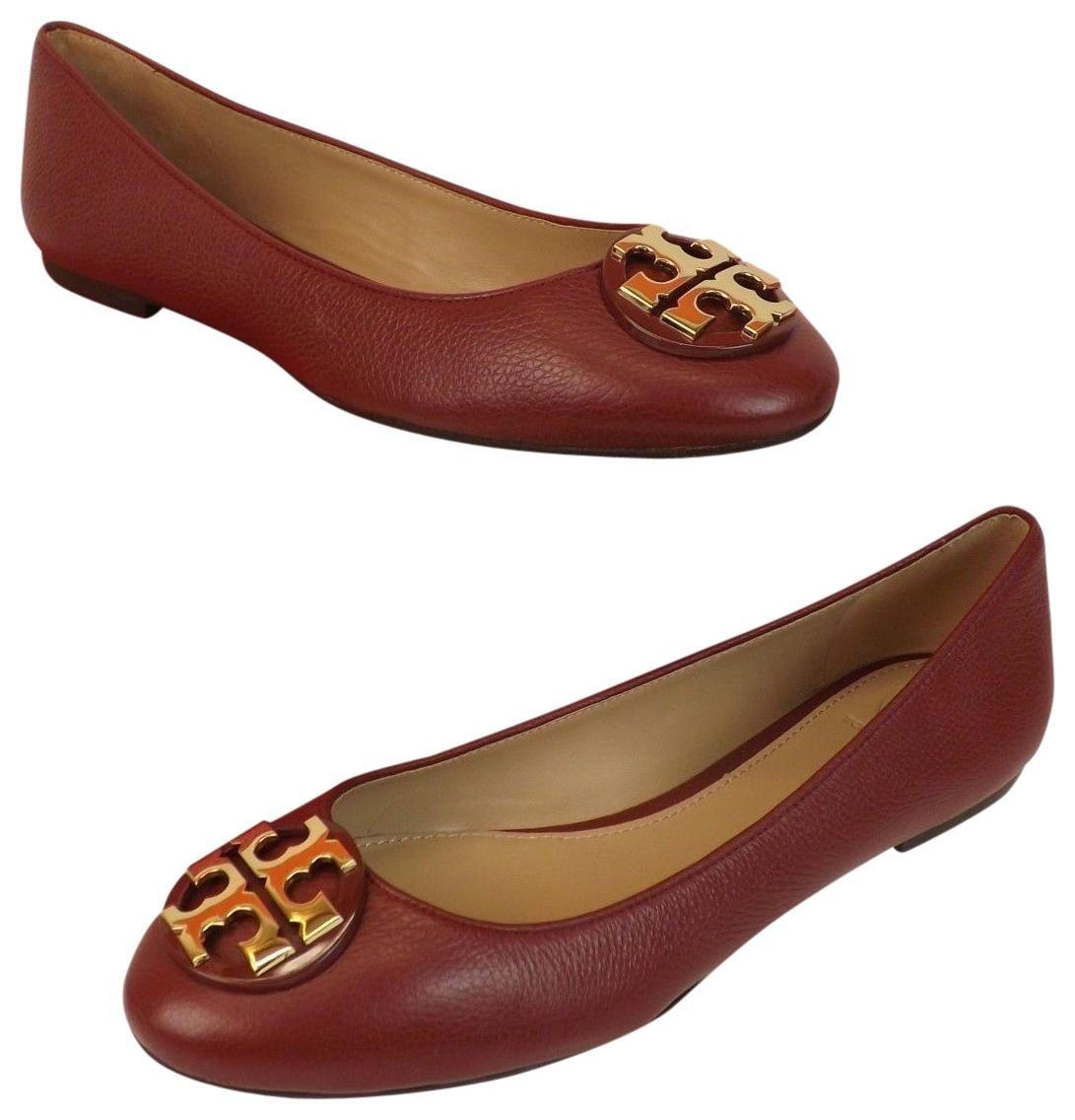 Tory Burch Red Agate/Gold Claire Tumbled Leather Tone Reva Ballet Flats Size US 9.5 Regular (M, B)