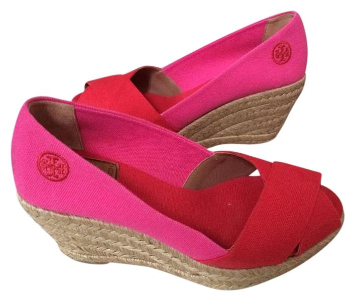 61ffabe21214 Tory Burch Red Pink Red Pink Espadrilles Espadrilles Espadrilles Wedges Size  US 6 2afbd8