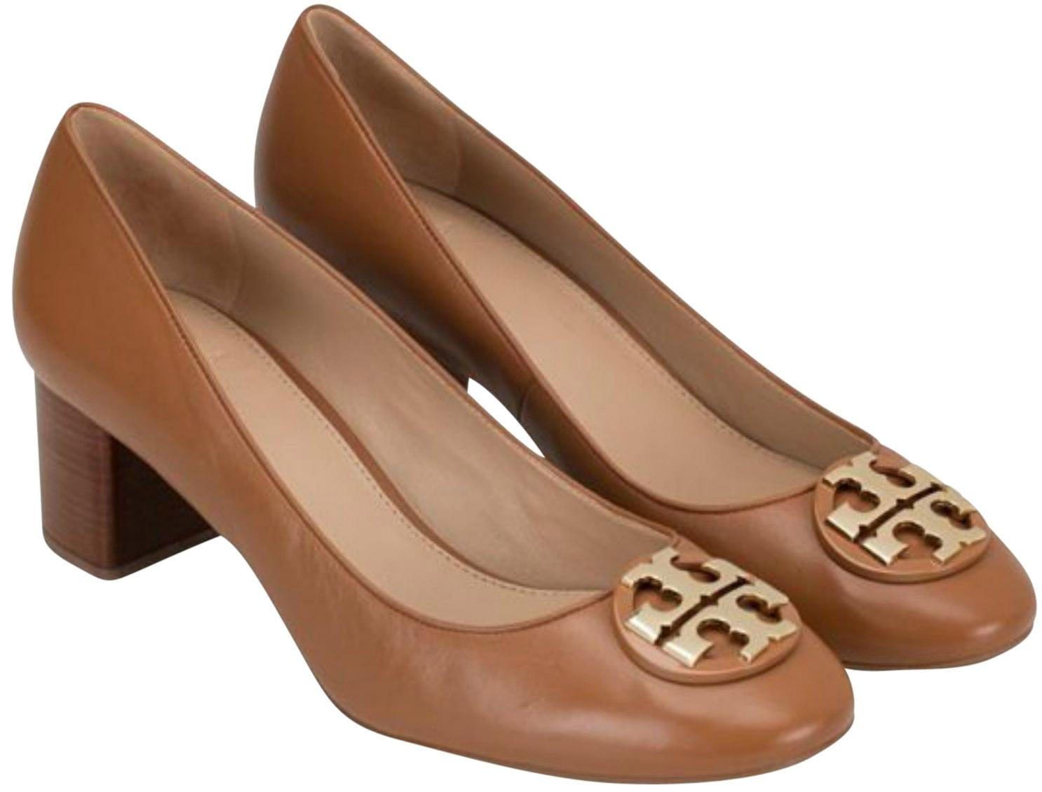 Tory Burch Royal Tan Gold Janey 50mm Calf Leather Pumps Size US 7 Regular (M, B)