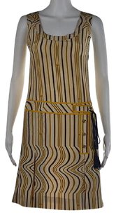 Tory Burch Womens Beige 0 Printed Metallic Silk Above Knee Sheath Dress