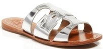 Tory Burch Anchor T Leather Silver Sandals