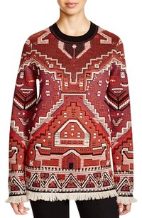 Tory Burch Tapestry Fringed Pattern Sweater