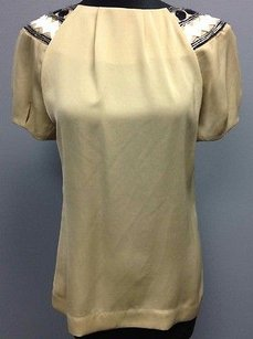 Tory Burch Polyester Accent Collar Short Sleeve Sma 211 Top Beige