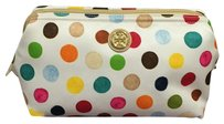 Tory Burch Tory Burch Printed Nylon Large Molded Cosmetic Case Multi Dot Multicolor White