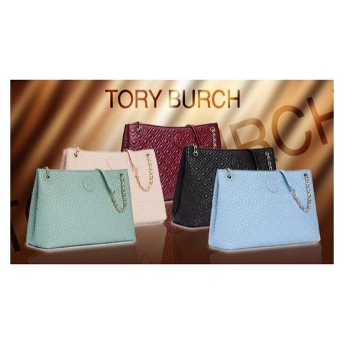 Tory Burch Fairview Blue Leather Marion Tote Tradesy