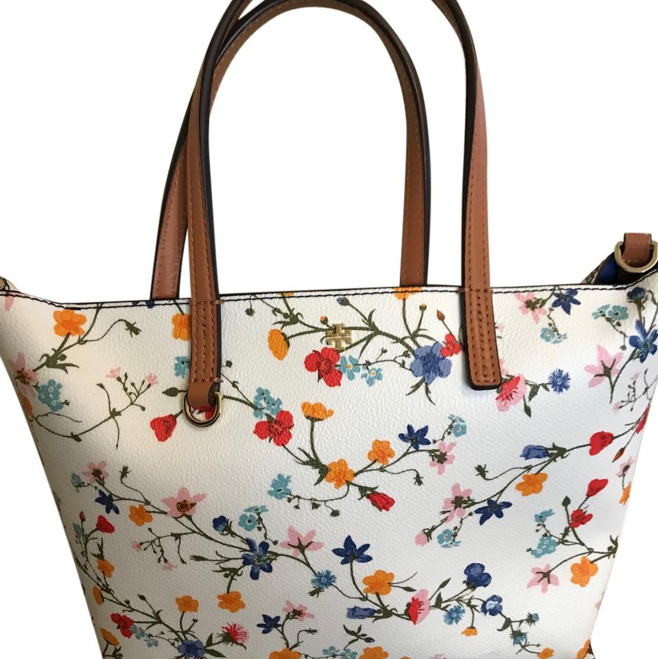 Tory Burch Spring 2016 Floral White With Red Blue Orange Yellow Flowers. Handles And Strap ...