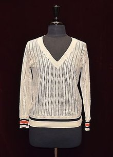 Tory Burch Cotton Blend Lace V Neck Sweater