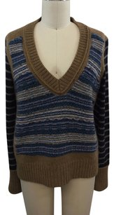 Tory Burch Brown Navy Striped Sweater