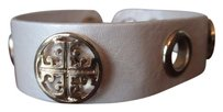 Tory Burch White and Gold Signature Leather Wrap Bracelet