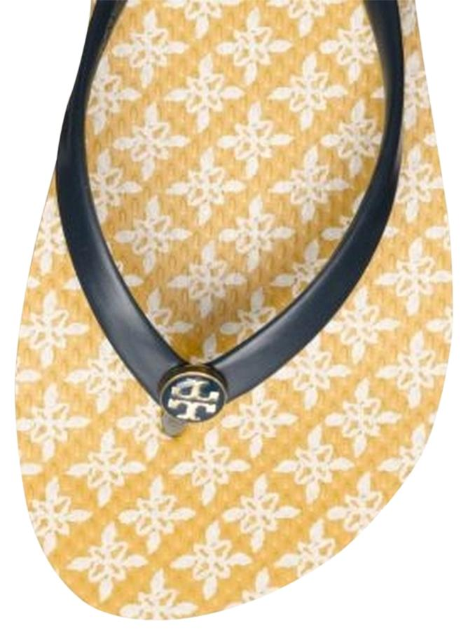 Tory Burch Yellow Printed Thin Flip Flop Sandals Size US 8