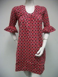 Tracy Negoshian Mari Red Black Floral Geometric Bell 34 Sleeve Dress