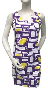 Tracy Negoshian Purple White Robyn Dress