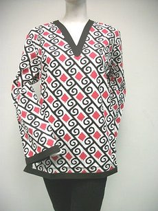 Tracy Negoshian Michelle Black White Red 100 Cotton Tunic
