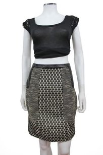 Tracy Reese Platinum Tweed Leather Combo Skirt Black