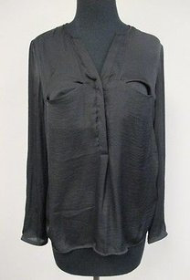 Trafaluc Polyester Sheer Long Sleeved Womens Flowy V877 Top Black