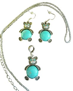Tribal American Indian Style Silver & Turquoise Earrings & Necklace Set