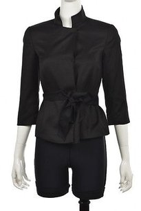 Trina Turk Womens Basic 34 Sleeve Casual Solid Coat Black Jacket