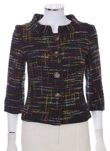Trina Turk Colored Wool Nylon 3/4 Sleeve Cropped Multi Blazer