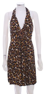 Trina Turk Keyhole Embellished Halter Silk Dress