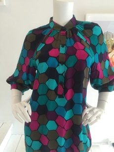 Trina Turk Graphic Office Chic Top Multi-Color