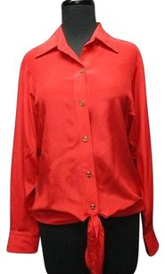 Trina Turk Silk Long Sleeves Solid Tie Hem Button Front P 2984 A Top Red