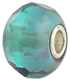 Trollbeads Trollbeads Charm - Turquoise Prism 60192 Sterling Silver Murano Glass Bead