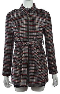 Tulle Womens Black Red Basic Plaid Casual Jacket Coat