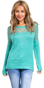 Other Blue Netted Mesh Sweater