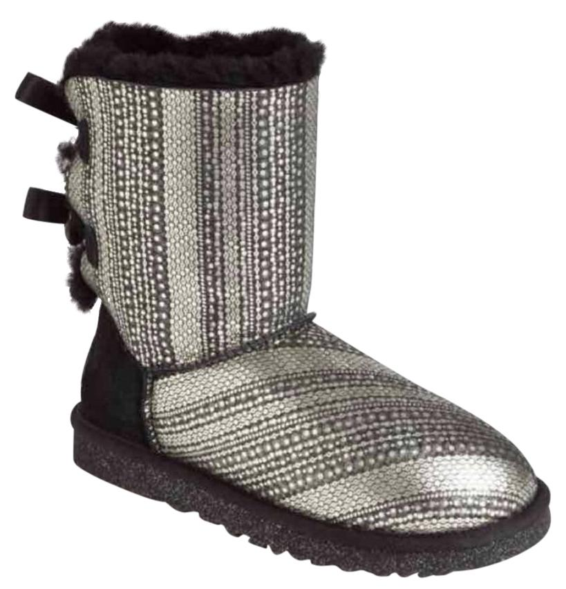 UGG Australia Limited Edition Charm Holiday Crystal Metallic Black and silver Boots ...
