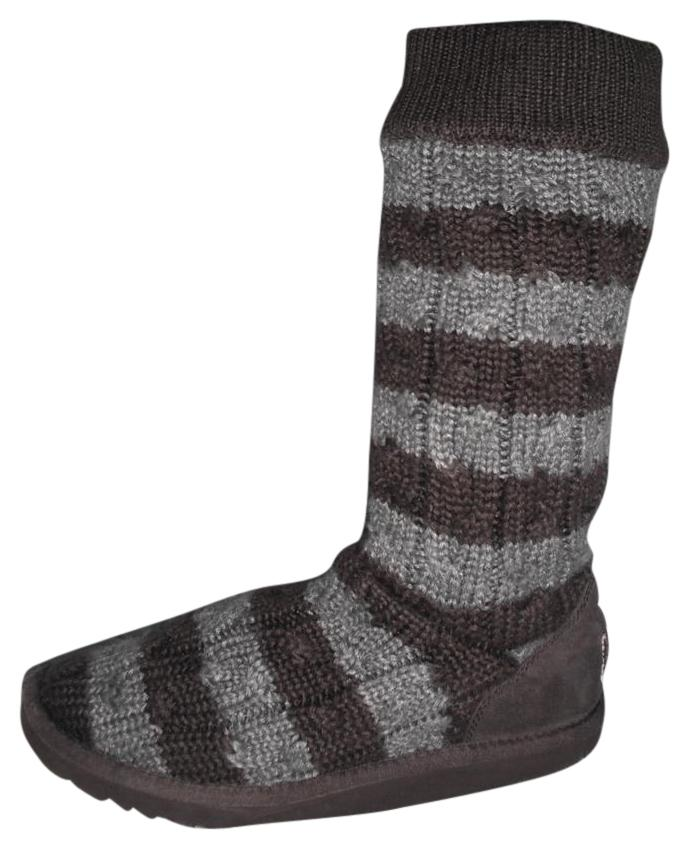UGG Australia Stripe Cable Knit Sweater 5822 Brown/Grey Brown/Grey Boots ...