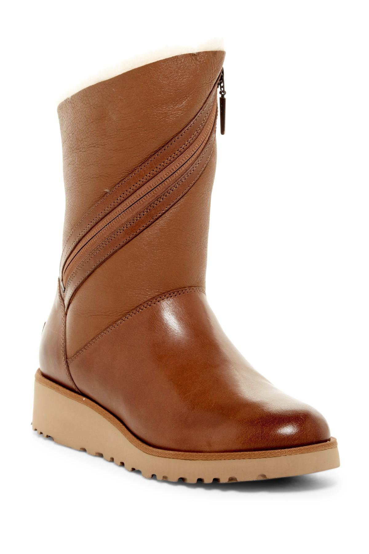 UGG Australia Chestnut Low Wedge Shearling Lined Boots ...