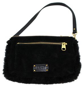 UGG Australia Fur Suede Wristlet Leather Night Out Lined Uggs Girly Baguette