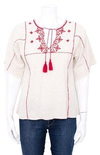 Ulla Johnson Tan Raw Silk Red Embroidered Short Sleeve 4sm Top Beige