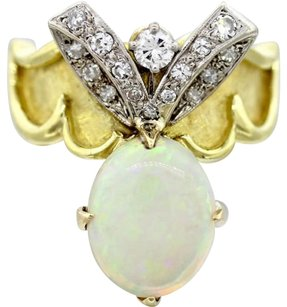Vintage,Solid,18k,Yellow,Gold,.66ctw,Diamond,Fire,Opal,Cocktail,Ring