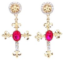 Unknown Pink Cross Earrings