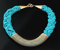 Braided Turquoise Seed Bead Necklace Free Shipping