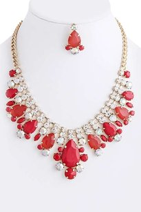 Unknown Crystal Coral Teardrop Stacked Necklace Set Costume Jewelry