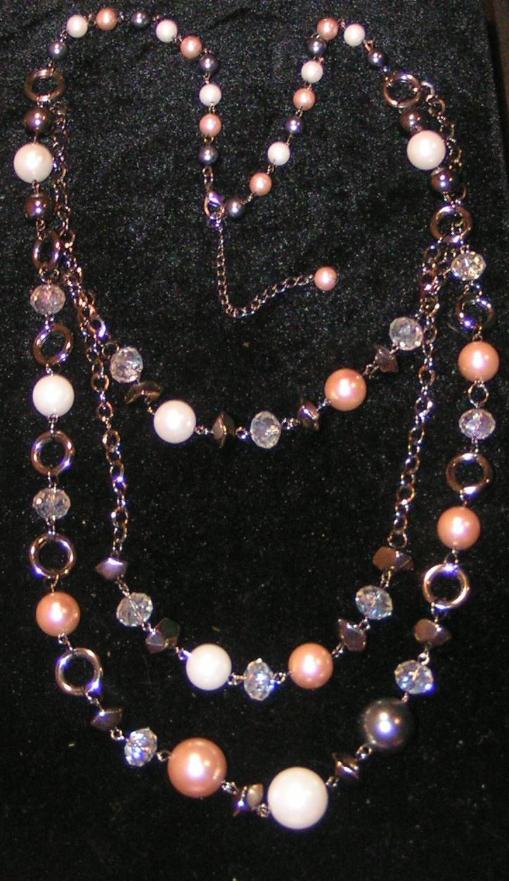 long layered faux pearl necklace free shipping 1577595