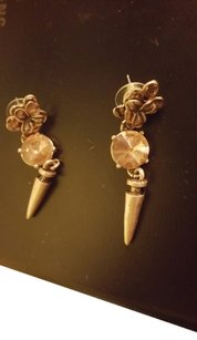 Unknown Russian Gold Stone Dangle Earrings