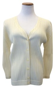 Pleats Please V-neck Pleated Top Cream