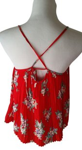 Urban Outfitters Criss Cross Pleated Floral Top Red
