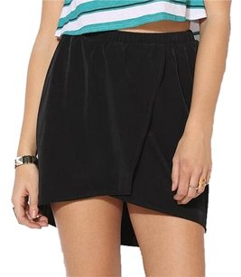 Urban Outfitters Mini Silky Pockets Wrap Sexy Mini Skirt Black