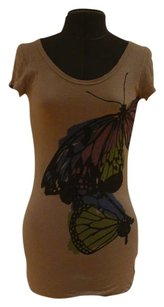 V.1 Couture Backless Ombre Strings Butterfly Fade T Shirt Grey