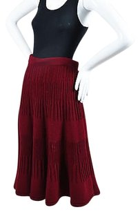 Valentino Dark Knit Midi Skirt Red