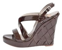 Valentino Patent Wedge Slingback Quilted Sandal High Heel Browns Platforms